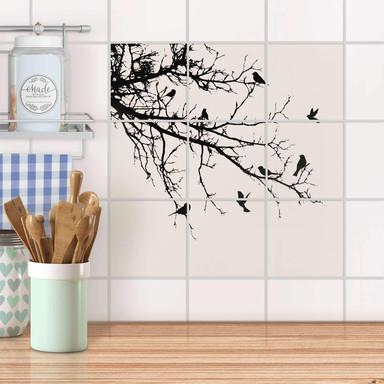 Klebefliesen - Tree and Birds 1