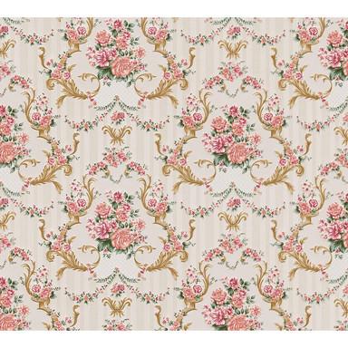 A.S. Création Papiertapete Concerto 3 Tapete mit floralen Ornamenten barock grün, metallic, rosa