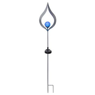 Erdspiessleuchte mit Dekoration Flamme, blau, inkl. Sensor und LED