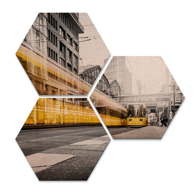 Hexagon - Alu-Dibond-Kupfereffekt - Berlin Friedrichstrasse 02 (3er Set)