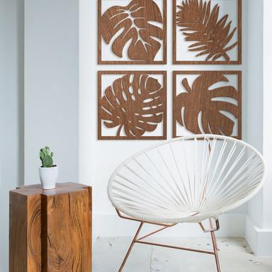 Holzkunst Mahagoni - Blätter Tropical Set