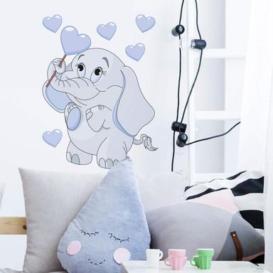 Wandsticker Elefantenbaby mit Herzen (blau)