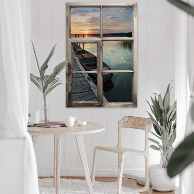 3D Wandtattoo Fenster Shabby - Sunset at the lake