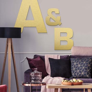 Alu-Dibond Buchstaben - Goldeffekt - Schriftart Swiss