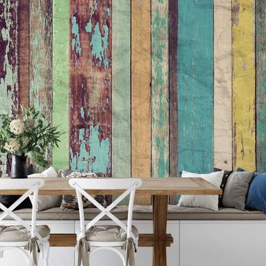 Fototapete Papiertapete Colored Wooden Wall - 8-teilig - Bild 1