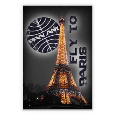 Hartschaumbild PAN AM - Paris Eiffelturm beleuchtet