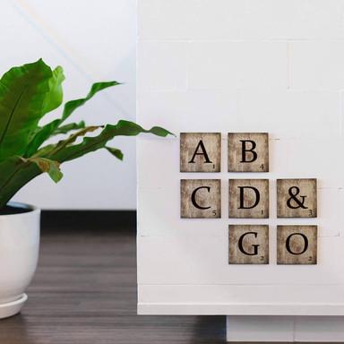 Holzbuchstaben Buchstabensteine - Vintage