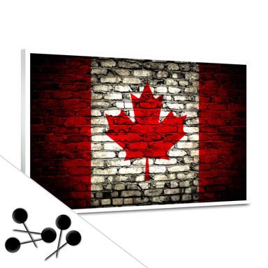 Memoboard Maple Leaf Flagge Maueroptik inkl. 5 Pinnnadeln