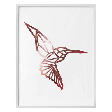 Poster - Origami Kolibri - Roségold-Optik