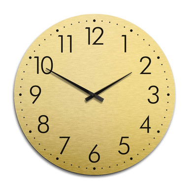 XXL Wanduhr Alu Dibond Goldeffekt - Modern mit Minutenanzeige Ø 70cm - Bild 1