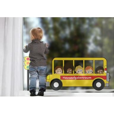 Fenstersticker Wunschtext Schulbus