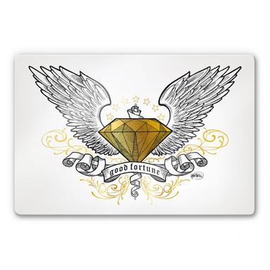 Glasbild LA Ink Diamant mit Flügeln