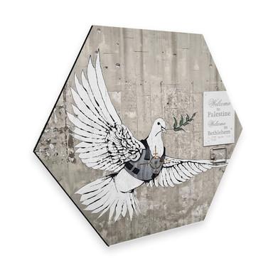 Hexagon - Alu-Dibond Banksy - Die Friedenstaube