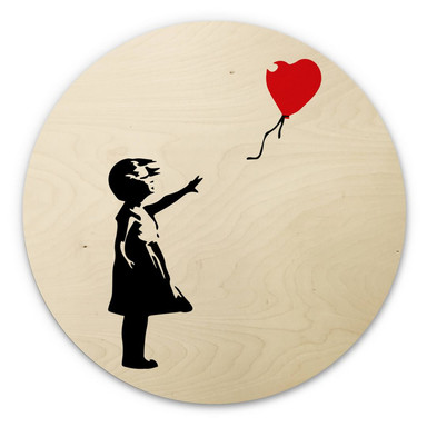 Holzbild Banksy - Girl with the red balloon - Rund