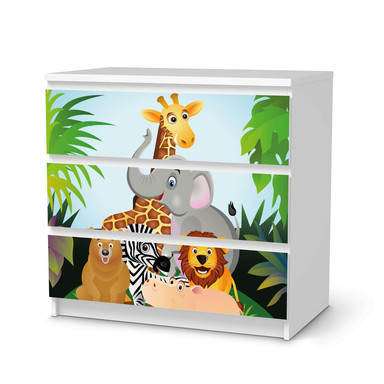 Klebefolie IKEA Malm Kommode 3 Schubladen - Wild Animals