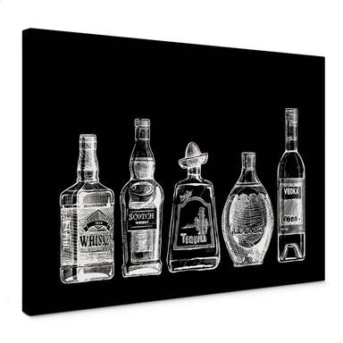 Leinwandbild 5 Flaschen voll Spass - schwarz