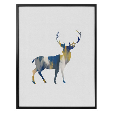 Poster Orara Studio - Deer Blue and Yellow