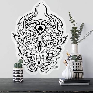 Wandsticker Miami Ink Mexikanische Totenmaske 1