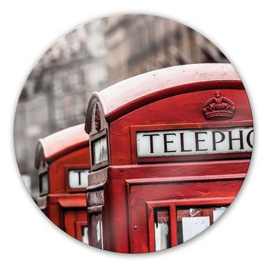 Glasbild Britische Telefonzelle - rund