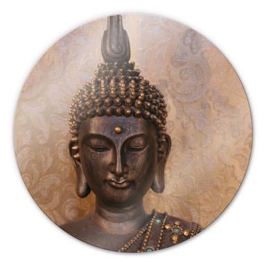 Glasbild Buddha der Weise - rund