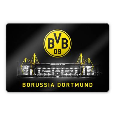 Glasbild BVB - Signal Iduna Park bei Nacht mit Emblem