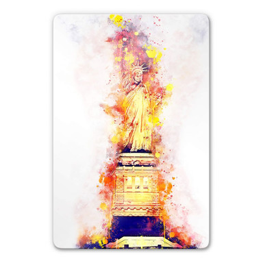 Glasbild Hugonnard - Watercolour: Statue of Liberty