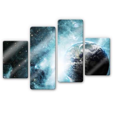 Glasbild In einer fernen Galaxie (4-teilig)