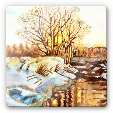 Glasbild Toetzke - Goldener Winter - quadratisch
