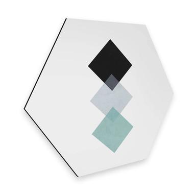 Hexagon - Alu-Dibond Nouveauprints - Squares aqua