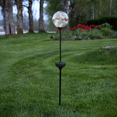LED Erdspiessleuchte Glory, rund, Glas, transparent, schwarz, 700mm