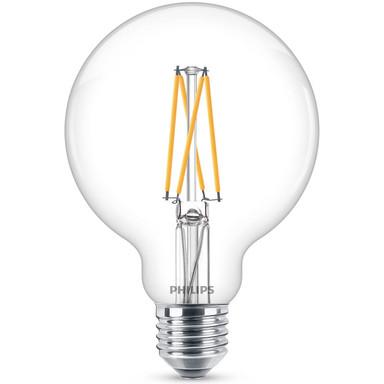 Philips LED WarmGlow Lampe ersetzt 60W, E27 Globe G93. klar, warmweiss, 806 Lumen, dimmbar, 1er Pack Energieklasse A&&