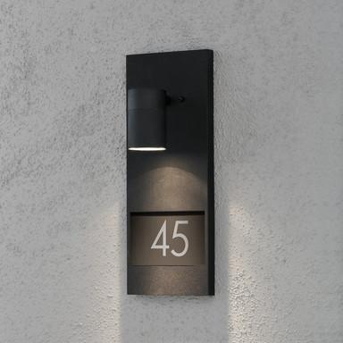 Stilvolle Wandleuchte Modena mit Hausnummer aus Aluminium in schwarz und Glas in klar, GU10 Fassung
