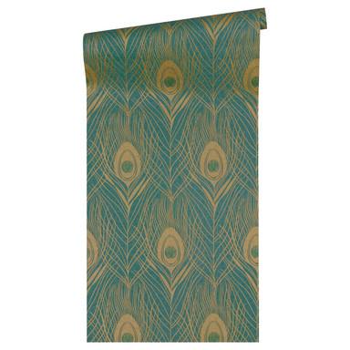 Architects Paper Vliestapete Absolutely Chic Tapete mit Pfauen Feder metallic, grün, braun