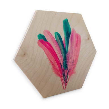 Hexagon - Holz Birke-Furnier Kubistika - Feder Bouquet