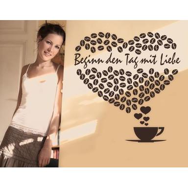 So kann es wirken: Das Motiv mit einem Beispieltext und der Farbe braun - Wandtattoo Wunschtext Lovely Morning