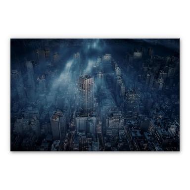 Alu-Dibond Silber Løndal - Nebel in NYC