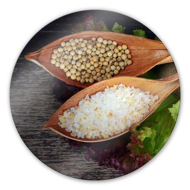 Glasbild Salt and Pepper - rund