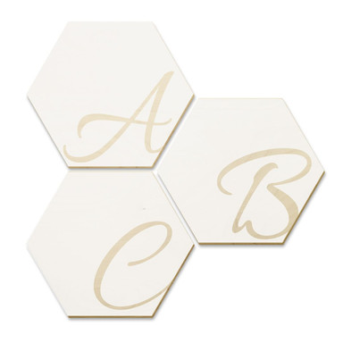 Hexagon Buchstaben - Holz Birke-Furnier - Weiss