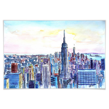 Poster Bleichner - Manhattan Skyline - Aquarell