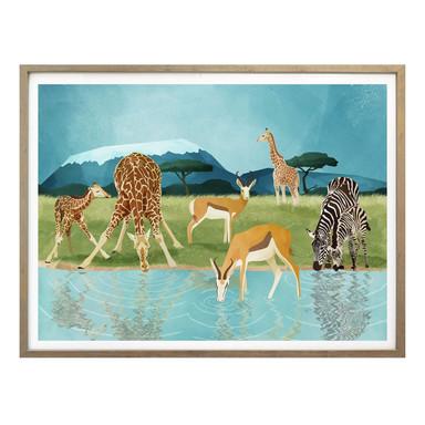 Poster Goed Blauw - Tiere am Wasserloch