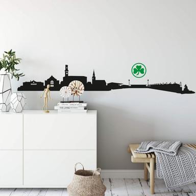 Wandtattoo SpVgg Greuther Fürth Skyline mit Logo farbig 1