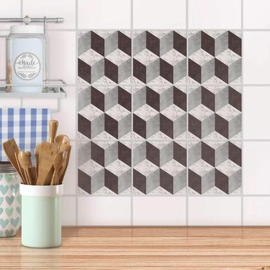 Fliesenaufkleber Set - Marmor Cubes