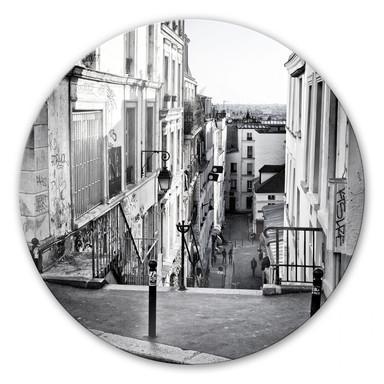 Glasbild Montmartre - rund