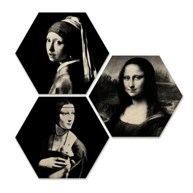 Hexagon - Holz Birke-Furnier - Berühmte Frauen der Kunstgeschichte (3er Set)
