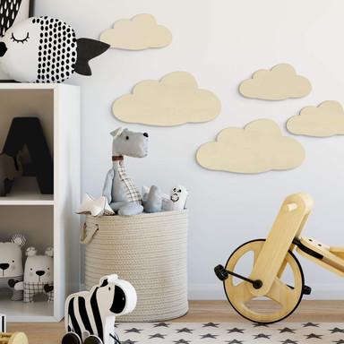 Holzdeko Pappel - Wolken-Set (5-teilig)