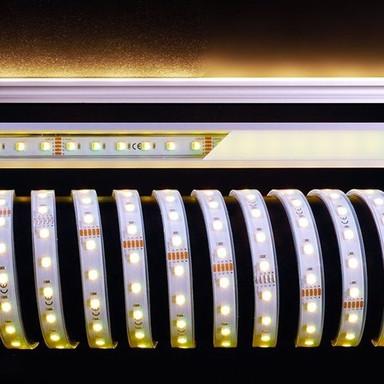 LED Stripe 5050-60-24V-Rgb&4200K-5M-Silikon in Weiss 2600lm IP67