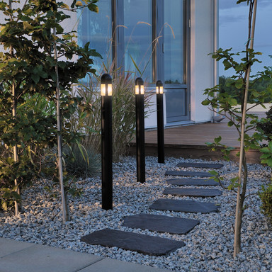 Moderne Erdspiessleuchteleuchte Amalfi aus Kunststoff in schwarz und Acrylglas, Set 3tlg., IP44