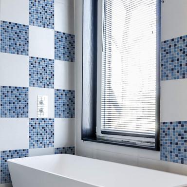 3D Fliesenaufkleber Mosaikmuster Ozeanblau - 4er Set je 30.5 x 30.5cm