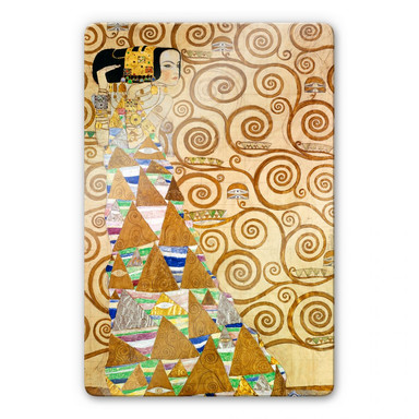 Glasbild Klimt - Die Erwartung