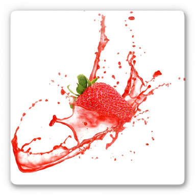 Glasbild Splashing Strawberry